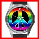 RAINBOW PEACE SIGN Hobby Round Metal Wrist Watch Unisex 149