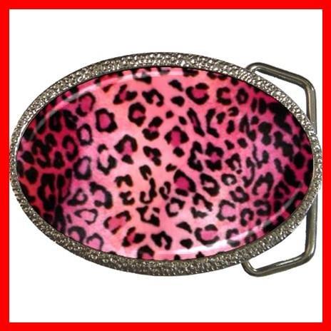 PINK LEOPARD Skin Photo Animal Hobby Fun Belt Buckle 004