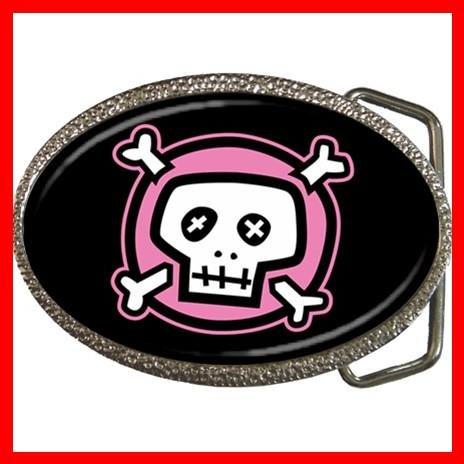 Pink Skull Black Hobby Fun Belt Buckle 012
