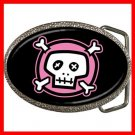 Pink Skull Black Hobby Fun Belt Buckle 012