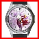 Purple Orchid Flowers Hobby Round Metal Wrist Watch Unisex 153