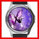 Purple Butterfly Light Fly Hobby Round Metal Wrist Watch Unisex 155