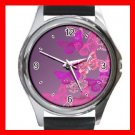 Pink Butterfly Flowers Fly Hobby Round Metal Wrist Watch Unisex 156