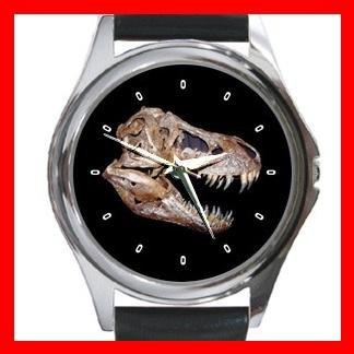 T-REX SKULL PALEONTOLOGY DINOSAUR Round Metal Wrist Watch Unisex 165