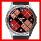 ARGYLE SQUARE Black Red Color Round Metal Wrist Watch Unisex 171