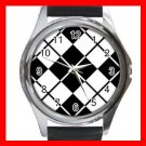 ARGYLE SQUARE Black White Color Round Metal Wrist Watch Unisex 172