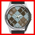 ARGYLE SQUARE Brown Color Round Metal Wrist Watch Unisex 173
