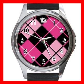ARGYLE SQUARE Pink Color Round Metal Wrist Watch Unisex 176