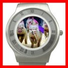 Cute Pig Race Run Hobby Stainless Steel Wrist Watch Unisex 147