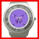 Purple Butterfly Fly Insect Stainless Steel Wrist Watch Unisex 151