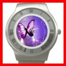 Purple Butterfly Light Fly Stainless Steel Wrist Watch Unisex 152
