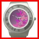 Pink Butterfly Flowers Fly Stainless Steel Wrist Watch Unisex 153