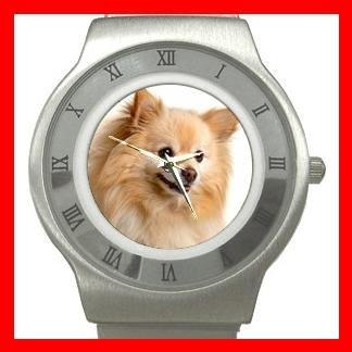 Pomeranian Puppy Dog Pet Stainless Steel Wrist Watch Unisex 160