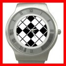 ARGYLE SQUARE Black White  Color Stainless Steel Wrist Watch Unisex 172