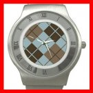 ARGYLE SQUARE BROWN Color Stainless Steel Wrist Watch Unisex 173
