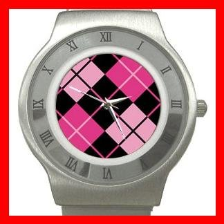 ARGYLE SQUARE Pink Color Stainless Steel Wrist Watch Unisex 176