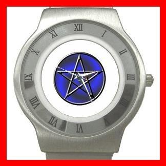 Blue WICCA PENTACLE Stainless Steel Wrist Watch Unisex 178
