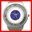 Blue WICCA PENTACLE Stainless Steel Wrist Watch Unisex 178