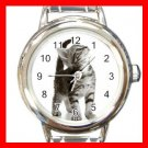 Curious Cat Pet Animals Round Italian Charm Wrist Watch 555