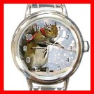 Cute Squirrel Skiing Sports Animals Round Italian Charm Wrist Watch 560