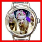 Cute Pig Races Run Animals Round Italian Charm Wrist Watch 562