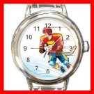Ice Hockey Sports Game Hobby Round Italian Charm Wrist Watch 563