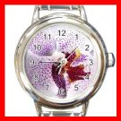 Purple Orchid Flowers Round Italian Charm Wrist Watch 566