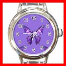 Purple Butterfly Fly Insect Round Italian Charm Wrist Watch 567
