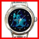 Blue Butterfly Triangle Star Round Italian Charm Wrist Watch 572
