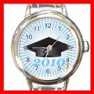 2010 Graduation Cap Student Round Italian Charm Wrist Watch 576