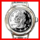 US QUARTER LIBERTY COIN Round Italian Charm Wrist Watch 577