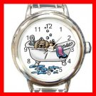 PET GROOMING CAT DOG BATH Round Italian Charm Wrist Watch 580