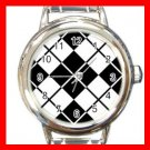 ARGYLE SQUARE Black White Color Round Italian Charm Wrist Watch 586
