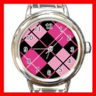 ARGYLE SQUARE Pink Color Round Italian Charm Wrist Watch 590