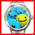 3D Smiles Blue Yellow Happy Faces Round Italian Charm Wrist Watch 591