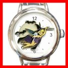 Tinkerbell Flying Halloween Witch Round Italian Charm Wrist Watch 594