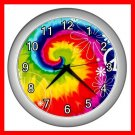 RAINBOW TIE DYE PEACE SIGN Wall/Decor Clock-Silver 001