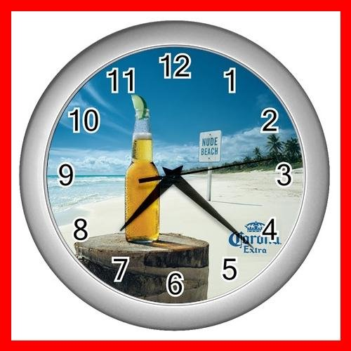 SUMMER CORONA BEACH SCENE Wall/Decor Clock-Silver 002