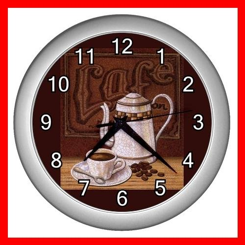 BEVERAGE CAFE COFFEE POT CUP Wall/Decor Clock-Silver 004