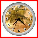 Palm Tree Palmae Tropical Plants Wall/Decor Clock-Silver 005