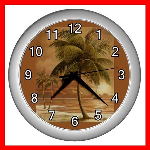 Palm Tree Palmae Tropical Plants Wall/Decor Clock-Silver 006