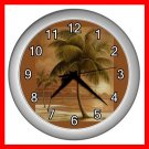Palm Tree Palmae Tropical Plants Wall/Decor Clock-Silver 006