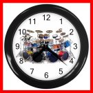 DRUM SET PERCUSSION MUSIC FUN Wall/Decor Clock-Black 008