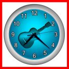 Blue Neon Guitar Music Fun Wall/Decor Clock-Silver 012