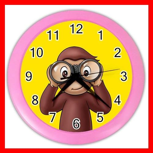 Curious George Monkey Kids Wall Clock-Pink 016