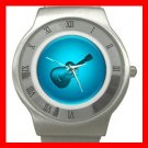 Blue Neon Guitar Music Fun Stainless Steel Wrist Watch Unisex 183