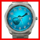 Blue Neon Guitar Music Fun Silvertone Sports Metal Watch 001