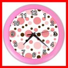 PINK AND BROWN POLKA DOTS GIRLS Wall Clock-Pink 019