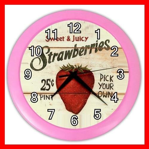 STRAWBERRY TASTY FRUIT Wall Clock-Pink 020