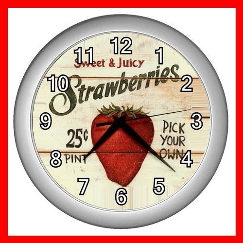 STRAWBERRY TASTY FRUIT Wall Clock-Silver 021